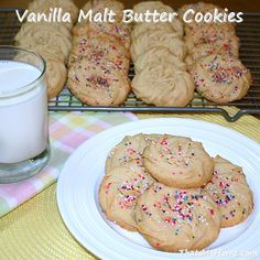 Vanilla Malt Butter Cookies - Recipes, Food and Cooking Cookie Flavors, Cookie Recipes, Dessert Recipes, Malt Recipe, Butter Cookies Recipe, Malted Milk, Calories, How Sweet Eats, Just Desserts