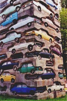 "ARMAN ""Long Term Parking"", completed in the sculpture is an high accumulation of 60 automobiles embedded in over kg lbs.) of concrete. Located in Parc de sculpture Le Montcel, Jouy-en-Josas, France. Land Art, Art Sculpture, Sculptures, Concrete Sculpture, Fondation Cartier, Instalation Art, Urbane Kunst, Wow Art, Art Plastique"