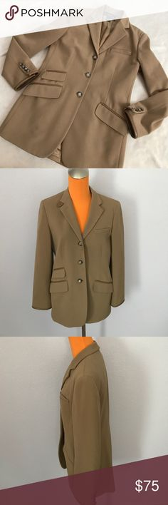 """Lauren Tan Wool Leather Trim Long Equestrian Coat 30"""" length 19"""" armpit to armpit. Equestrian style king riding jacket. Blazer style. Has brown leather trim detailing. Buttons have horse detailing. Front pockets. Lined on inside. Excellent condition. Bundle 2+ items for a discount. Lauren Ralph Lauren Jackets & Coats Blazers"""
