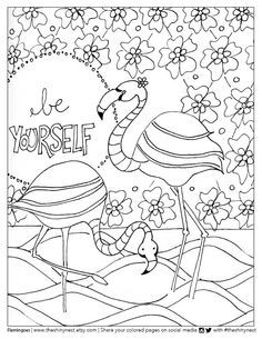 Free printable Flamingo Coloring page! www.smilingcolors.com