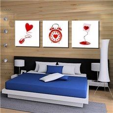 Nouvel arrivé Lovely Red Heart Clock et Lamp Print 3 pièces Cross Film Wall Art Prints