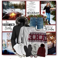 Winter Ice Skating Party by brendariley-1 on Polyvore featuring Chicnova Fashion, Ultimate, The North Face, Frame, River Island, Halogen, Tory Burch, Nearly Natural, WALL and iceskatingstyle