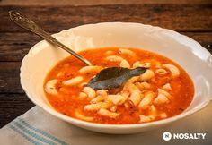Olasz babos-tésztás leves Vegan Vegetarian, Vegetarian Recipes, Gazpacho, Chana Masala, Eating Well, Thai Red Curry, Bacon, Soup, Dishes