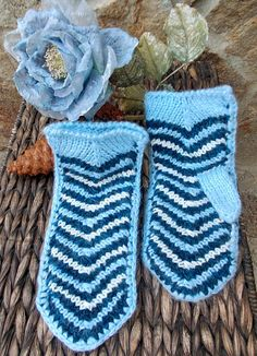 Hand Knitted Mittens, Free Shipping, Mohair,Patterned Mittens, Winter Mittens, Ladies Mittens,  Natural Wool