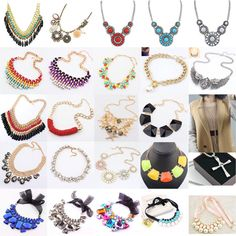 Fashion Charm Jewelry Crystal Chunky Statement Bib Pendant Chain Choker Necklace #Unbranded