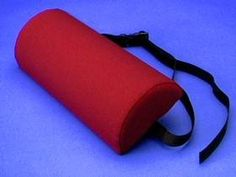 """Lumbar Roll - BTP Half Roll - Firm by Therapy Best Buys. $10.45. This lumbar roll provides lower back support in a half cylinder design. An adjustable strap with snap lock buckle secures the roll in a fixed position. Great for use with office chairs. Measures 2 ?""""  wide x 11"""" in length."""
