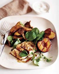 Can't wait to try this. Grilled Striped Bass with Plums and Potato-Mushroom Papillotes Recipe from Food & Wine. Basically, roasted veggies in soy sauce and balsamic vinegar, and rosemary bass. Would go well with rice.