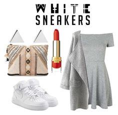 """""""Casual white"""" by vakacegu ❤ liked on Polyvore featuring BLANK, Topshop, NIKE and Jennifer Meyer Jewelry"""