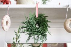 salt dough ornaments with evergreen branches hot glued on