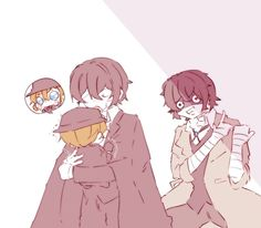 Dazai x Chuuya Stray Dogs Anime, Bongou Stray Dogs, Anime One, Anime Guys, Bungou Stray Dogs Characters, Anime Witch, Chuuya Nakahara, Anime Family, Fanart