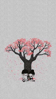 ✨ fondo de pantalla! Art Love Couple, Love Cartoon Couple, Cute Love Cartoons, Anime Love Couple, Love Wallpaper Backgrounds, Iphone Wallpapers, Love Wallpapers Romantic, Love Doodles, Animated Love Images
