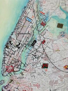 Marroquin Ruben | New York City Map. Glow screen printing Ink and...