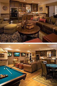 Basement rec room (aka Man Cave). Hate those rugs, and the wall art. My husband would require tacky wall art of his choosing...as its The Man Cave.