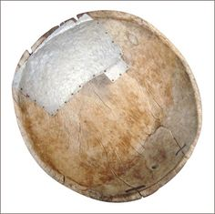 """c18 carved wooden bowl with repairs - """"kintsugi"""" is Japanese term for artful repair of damaged objects"""