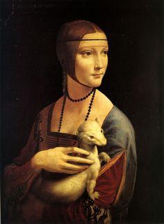 qui il pittore è famoso ( Leonardo ) ma anche la modella : Cecila Gallerani