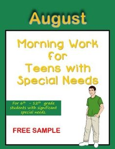 Morning Work for Teens with Special Needs (August)