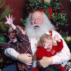 Real Kid Photos: Scared of Santa To some kids, that jolly guy with rosy cheeks and the long beard is well, freaky! Check out some of the funniest scared-by-Santa Claus photos, submitted by moms (trust us: you'll want to send this one to a friend). Awkward Family Photos Christmas, Funny Christmas Pictures, Santa Pictures, Funny Pictures, Xmas Pics, Baby Pictures, You Funny, Funny Kids, Cute Kids