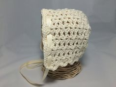 RTS IVORY 3-6 MO Crochet Baby Bonnet  baby hat lacy by hamburke