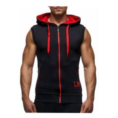 Brand of men's vest casual hooded vest men to join 2018 men's fashion zipper sleeveless hooded Tank Tops bodybuilding mens Vest