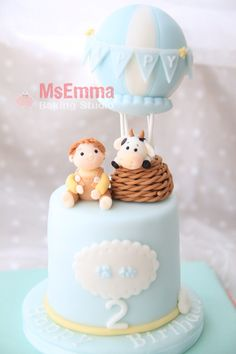 Hot balloon fondant cake