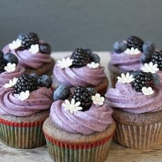 Blueberry-Blackberry Cupcake with Blueberry Cream Cheese Frosting. Look so pretty!