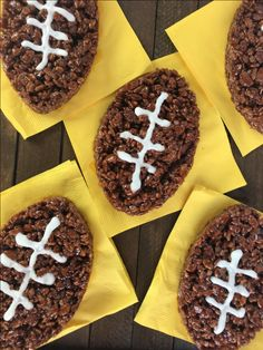 Football Cocoa Rice Crispy Treats are a great game day dessert! They are easy to package for tailgate parties or bake sales. Tailgate Desserts, Tailgate Food, Tailgate Parties, Tailgating, Football Treats, Football Food, Rice Crispy Treats, Krispie Treats, Bake Sale Packaging