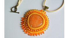 Semiprecious stone Pendant bead embroidery necklace. от Carramela
