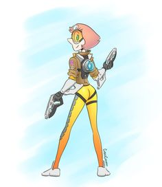 """cubedcoconut: """" Pearl rocking it as Tracer from Overwatch! """""""