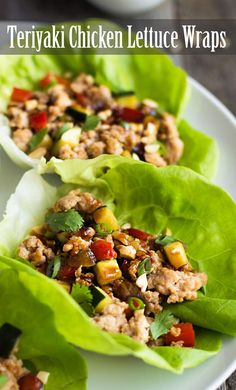 These Teriyaki Chicken Lettuce Wraps are an easy, light meal for any night of the week! A quick homemade teriyaki sauce makes them way better than take-out. On SimplyRecipes.com