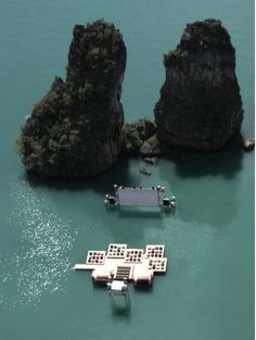 German-born and Beijing-based architect Ole Scheeren created a floating auditorium where guests could watch movies in the sea, on rafts in the middle of quiet waters.