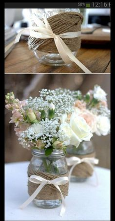 more mason jar flowers.  We have a local friend who will grow a mix of wild flowers for you.  Colorful and less forma.  We can add some roses and other things which she won't have.