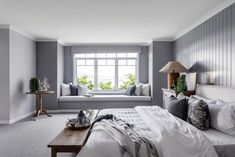 Hamptons style bedrooms, bedroom windows, window seats bedroom, barn be Master Bedroom Layout, Bedroom Makeover, Hamptons Style Bedrooms, Home Bedroom, Bedroom Interior, Hamptons Bedroom, Modern Bedroom, Bedroom Window Seat, Window Seat Design