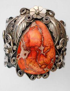 Navajo Silver and Red Sea Sediment Jasper Bracelet/Cuff PERCY SPENCER *528 | eBay