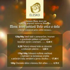 Elesko restaurant Modra - valentínske menu Menu, Restaurant, Menu Board Design, Diner Restaurant, Restaurants, Supper Club