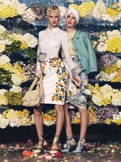 Left, Banana Republic's polyester top; Oscar de la Renta's embroidered cotton skirt. Marc Jacobs head wrap; 3.1 Phillip Lim belt; Miss Numa ...