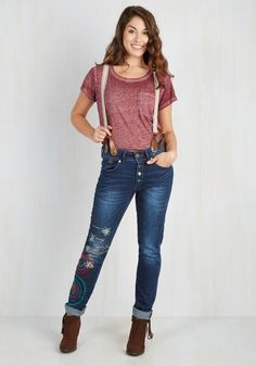 Jammin' Jamboree Jeans. Set your banjo upon the fashionably faded knee of these straight-leg jeans and count off the jam sesh! #multi #modcloth