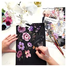 Painting on a coloured paper stock gives a different feel to your elements, and we've been trying out this black paper for some moody, saturated blooms.