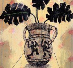 Oak leaves in ancient Greek vase, drawing. Oak Leaves, Ancient Greek, Digital Media, Valentines Day, Hunting, Vase, Drawings, Valentine's Day Diy, Oak Leaf Cluster
