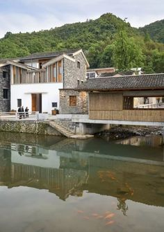 {w} Contemporary design that reflects traditional characters. China Architecture, Facade Architecture, Entrance Design, Facade Design, Spring Villa, Chinese Courtyard, Rural House, Architectural Section, Village Houses