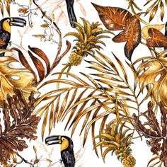 Golden Tropics and Tukan Birds on White by Irina Fominykh - Hand painted pattern design with monstera and palm leaves, alakazia leaf, tropical tukan Painting Patterns, Print Patterns, Pattern Designs, Première Vision, City Sketch, Good Night Image, Big Flowers, Golden Color, Paris