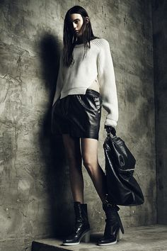 cool chic style fashion: Alexander Wang Resort 2013 - Cool shoulder details.