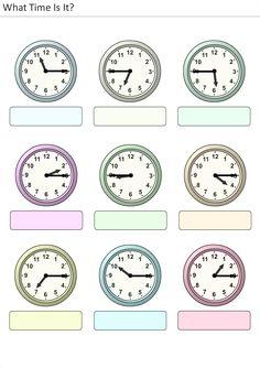 Actividades para niños preescolar, primaria e inicial. Plantillas con relojes analogicos para aprender la hora diciendo que hora es. Que hora es. 34