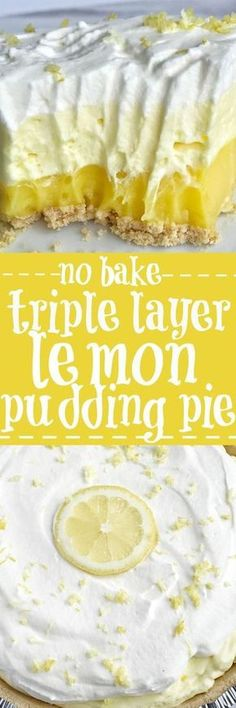 This easy & simple no bake triple layer lemon pudding pie is the perfect summertime dessert! You only need 5 ingredients for a sweet and creamy lemon pudding pie that is no bake and so simple to make. Desserts {no bake} Triple Layer Lemon Pudding Pie 13 Desserts, Baking Desserts, No Bake Summer Desserts, Easy Lemon Desserts, Holiday Desserts, Layered Pudding Desserts, Healthy Desserts, Easy No Bake Deserts, Lemon Lush Dessert