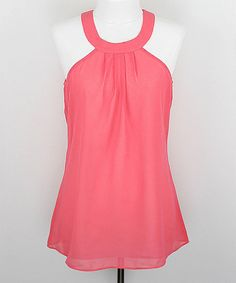 Another great find on #zulily! Coral Tie-Back Yoke Top - Women by Zoe #zulilyfinds