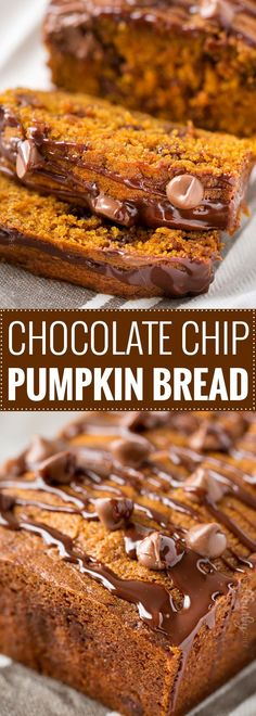 Chocolate Chip Pumpkin Bread   Perfectly spiced and moist, this chocolate chip pumpkin bread is the most amazing pumpkin bread you'll ever have!   https://www.thechunkychef.com   #pumpkinbread #pumpkin #chocolate #bread #Fall #dessert