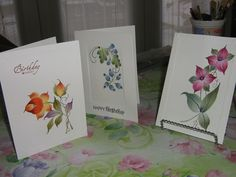 Hand Painted Cards by myself from designs by M. McNaughton