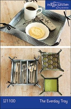 """Keep things neat with Indygo Junction's quick and easy fabric tray set. Great as a kitchen set: napkin holder for dinner or cocktail size napkins and add divider to large tray for silverware holder. Three sizes are included along with tie or snap corner closures. Small: 5"""" x 5"""" x 2.5""""; Med: 6.5"""" x 6.5""""x 2.5""""; Large: 9.5"""" x 9.5"""" x 2.5"""". $9.99"""