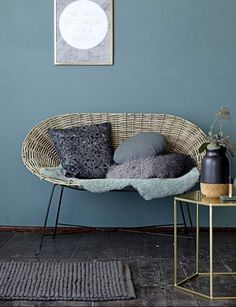 Bloomingville is a Danish contemporary design company that offer a wide range of home accessories, design furniture, kitchen styles and outdoor designs. Gold Frame Wall, Frames On Wall, Framed Wall, Wall Art, Blue Rooms, Blue Walls, Cosy Corner, Home And Deco, Room Colors
