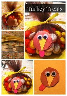 Thanksgiving Turkey Treats -- This Turkey Treat is a fun craft and snack all in one, perfect for a classroom party or Thanksgiving Day activity.