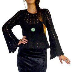 Vintage 60s 70s Style Janis Joplin Gypsy Sheer Crochet Black Top with Flared Bell Sleeves ....Size Petite Small by HolaVintageShop, $45.00